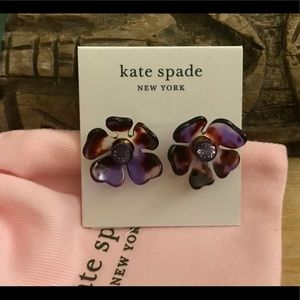 Kate Spade Crystal Flower Stud Earrings Gold-Tone